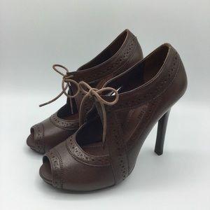 Gianni Bini Brown Leather Peep Toe Heels